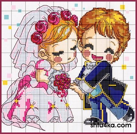 Жених и невеста в вышивках.