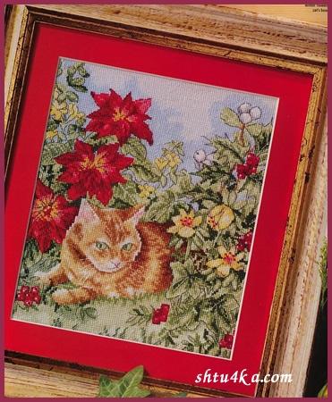 Схема для вышивания: Рыжий кот
